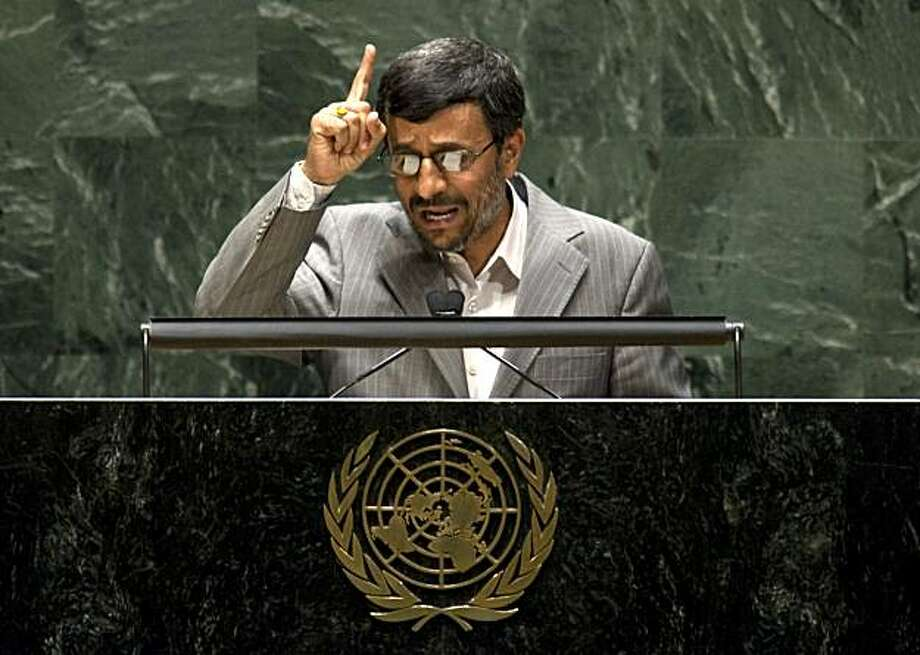 TOPSHOTS Iran President Mahmoud Ahmadinejad speaks to the 2010 High-level Review Conference of the Parties to the Treaty on the Non-Proliferation of Nuclear Weapons May 3, 2010 at the United Nations In New York.    TOPSHOTS/ Photo: Don Emmert, AFP/Getty Images