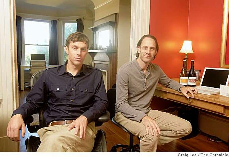 "Matt Licklider (left) and Kevin O'Connor (right), partners in a winery called Lioco, operated as a ""virtual"" winery out of Matt's apartment in San Francisco, Calif., on September 15, 2008. Kevin O'Connor is the wine director for Spago in Beverly Hills, California. Photo: Craig Lee, The Chronicle"