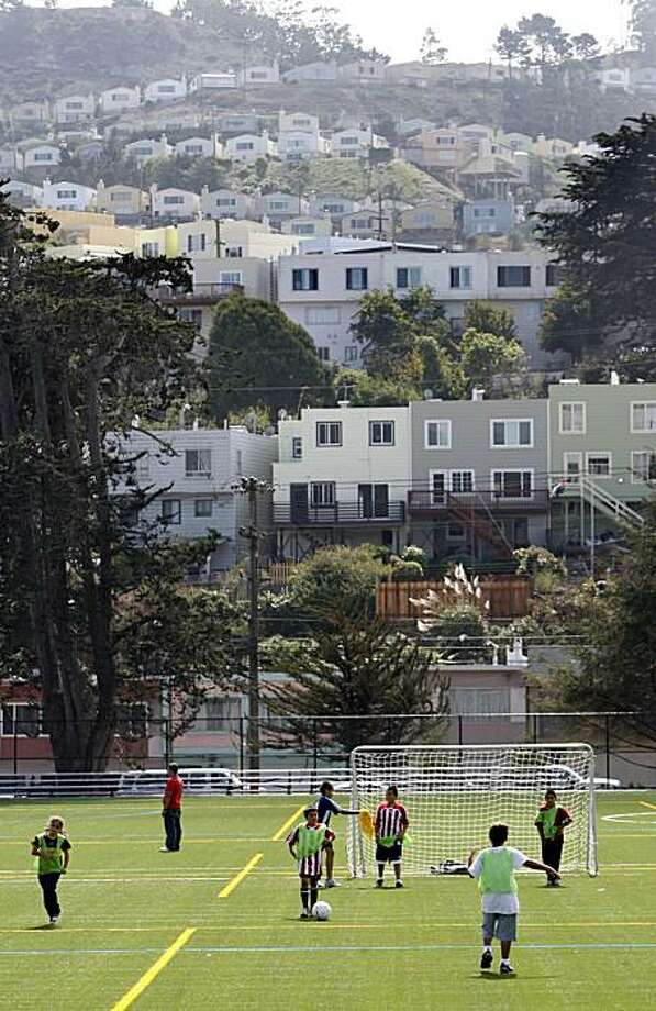 Soccer players from all over the city came to play on the new artificial turf playing fields at the newly renovated and opened Crocker Amazon Soccer Complex at Crocker Amazon Park, in San Francisco, Calif. on  Sunday Sept. 21, 2008 Photo: Katy Raddatz, The Chronicle