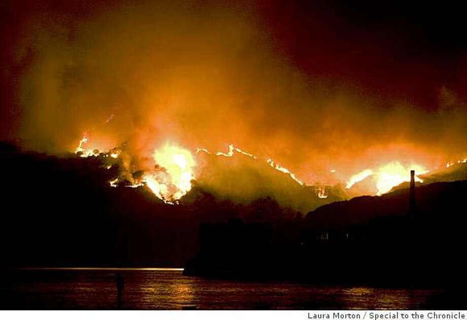 A large fire burns on the top of Angel Island on Sunday, October 12, 2008. Photo: Laura Morton, Special To The Chronicle