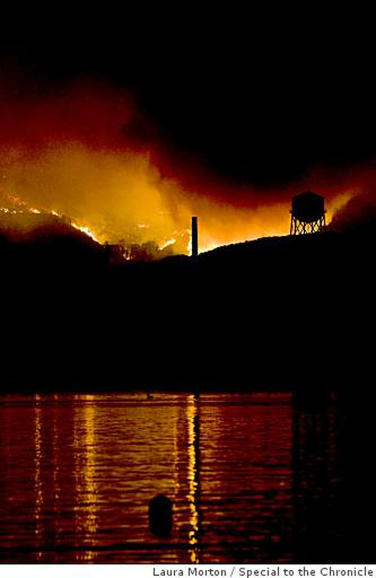 A large fire burns on the top of Angel Island on Sunday, October 12, 2008.
