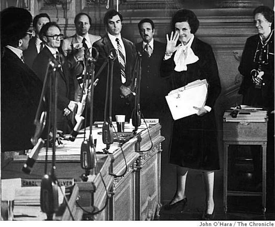 Mayor Dianne Feinstein waved to crowds as she left the Supervisors chambers as the new Mayor of San Francisco on December 4, 1978.  Feinstein became Mayor after the murders of both Mayor George Moscone and Supervisor Harvey Milk. Photo: John O'Hara, The Chronicle