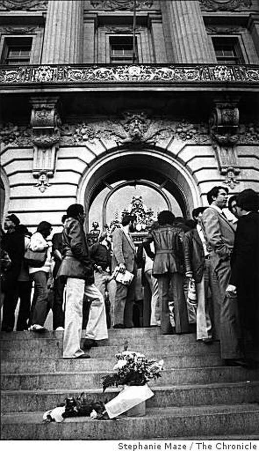 Flowers on the steps of City Hall after the assassination of San Francisco Mayor George Moscone and Supervisor Harvey Milk on November 27, 1978. Photo: Stephanie Maze, The Chronicle