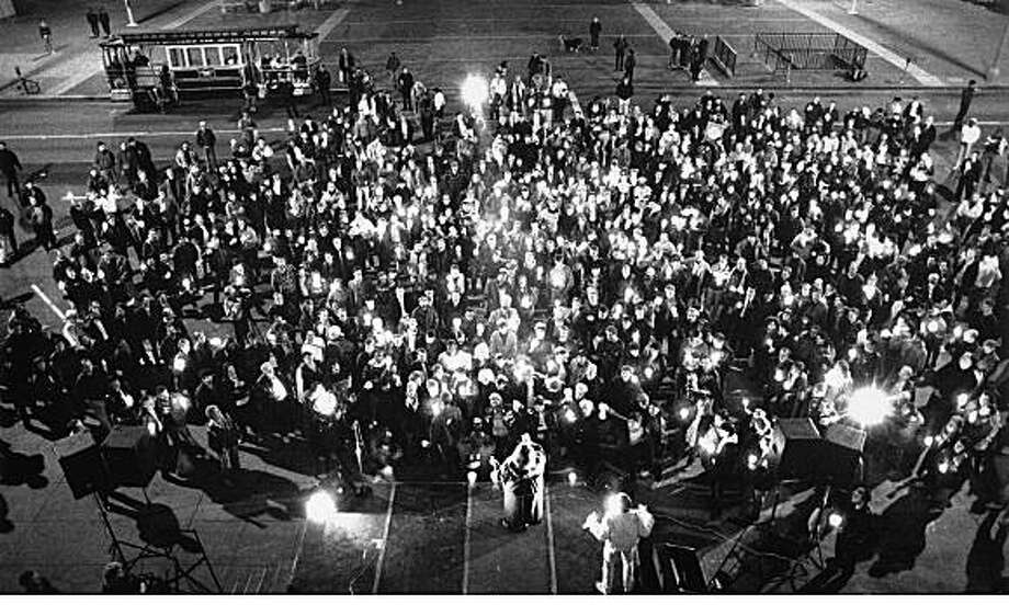 A photo of the candle light march to City Hall in San Francisco after the George Moscone assassination.