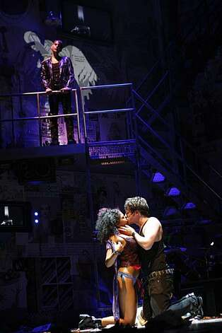 "Rebecca Naomi Jones (bottom, left) playing Whatsername with John Gallagher, Jr. (bottom, right) as Johnny, and Tony Vincent  (top) playing St. Jimmy during the final dress rehearsal for Berkeley Rep's Roda Theatre world premiere of ""American Idiot, "" a new musical adaptation of Green Day's  album of same name, directed by Michael Mayer in Berkeley, Calif., on Thursday, September 3, 2009. Photo: Liz Hafalia, The Chronicle"