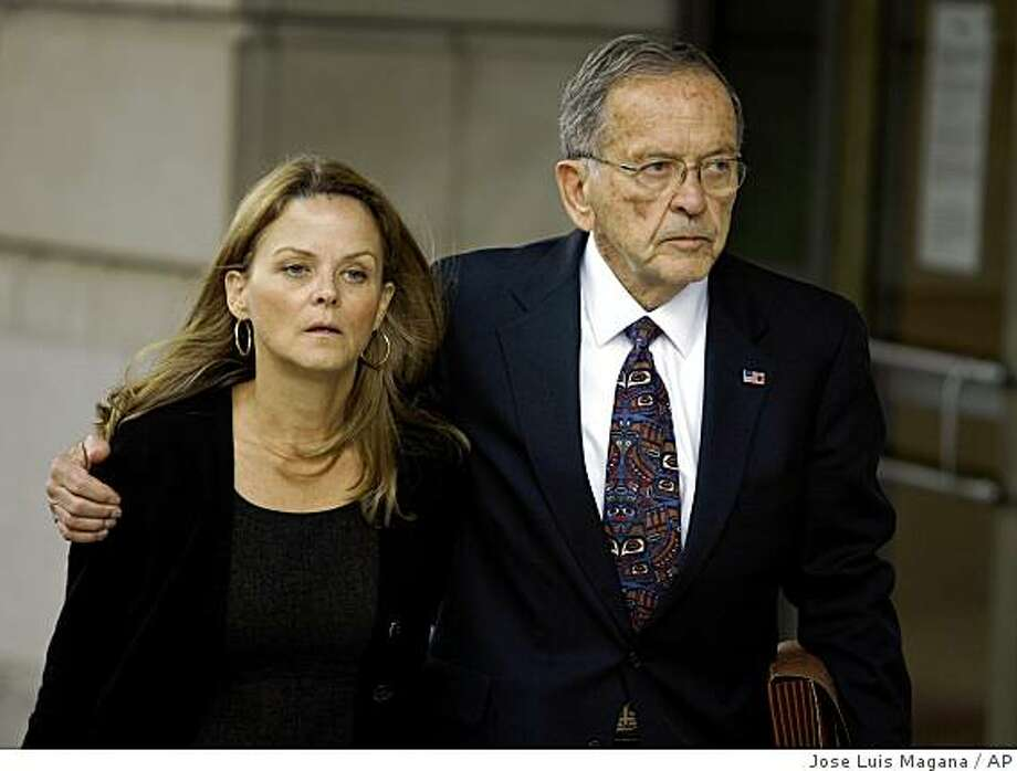 Sen. Ted Stevens, R-Alaska, and his daughter Beth Stevens leaves federal court in Washington, Friday, Oct. 17, 2008. (AP Photo/Jose Luis Magana) Photo: Jose Luis Magana, AP