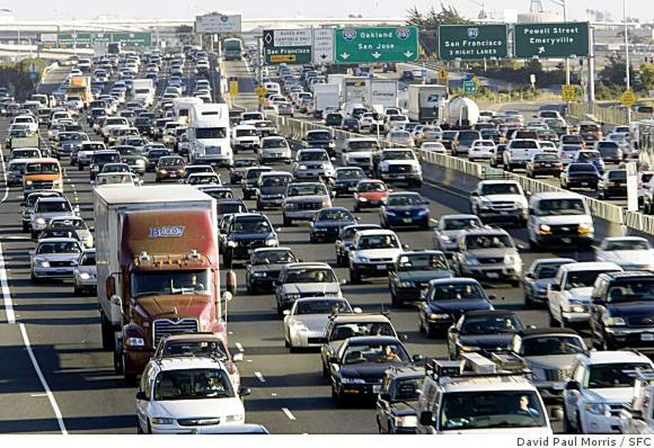 Traffic congestion is one of the major causes of air pollution in the Bay Area. This is traffic on Highway 80, September 2007. Photo: David Paul Morris, SFC