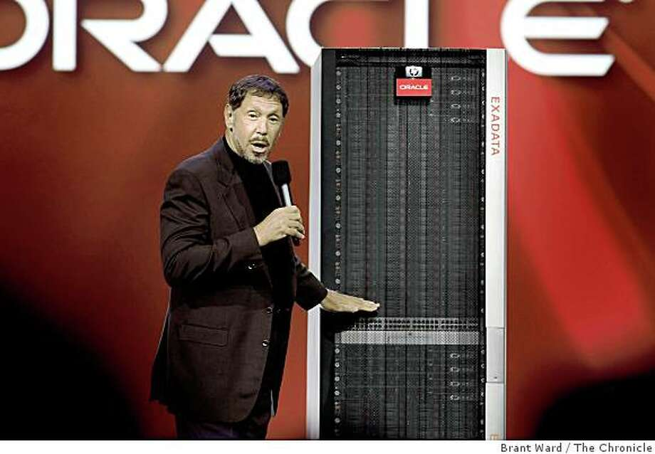 Larry Ellison unveiled the new HP Oracle Exadata machine to the convention audience. Keynote speakers at the Oracle Open World conference in San Francisco Wednesday September 24, 2008 included Oracle's Larry Ellison, and Ann Livermore from Hewlett Packard. Photo: Brant Ward, The Chronicle