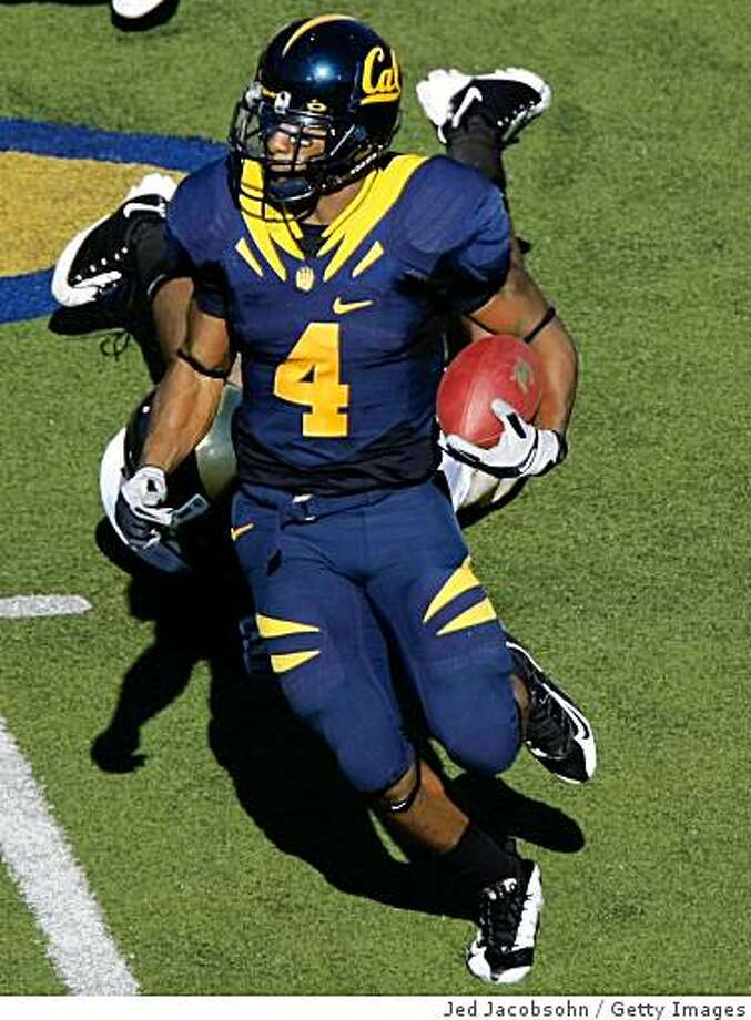 BERKELEY, CA - SEPTEMBER 27: Jahvid Best #4 of the California Golden Bears runs against the Colorado State Rams during an NCAA football game on September 27, 2008 at Memorial Stadium in Berkeley, California.  (Photo by Jed Jacobsohn/Getty Images) Photo: Getty Images