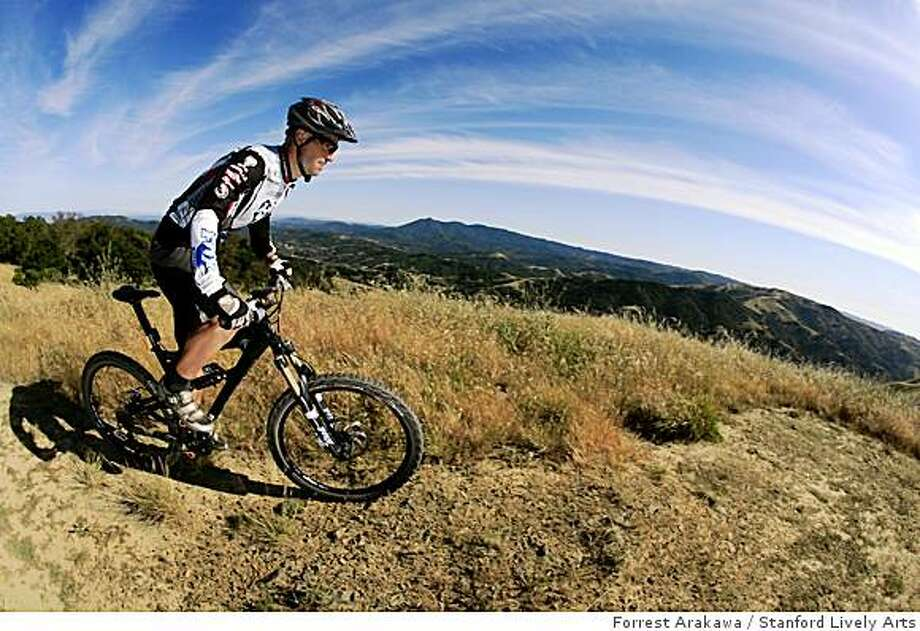 Mark Weir, a sponsored mountain biker from Marin who is participating in Biketoberfest, is shown on a trail above Fairfax. This will be the trail where a free group ride will take place (but he? is not leading it). Photo: Forrest Arakawa, Stanford Lively Arts