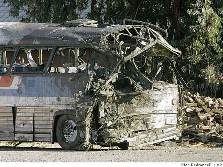 The front end of charter bus that overturned, Sunday, is seen in a wrecking yard near Williams, Calif., Monday, Oct. 6, 2008.  Eight people were killed and dozens were injured when the charter bus overturned on a rural road late on it's way to an American Indian casino. (AP Photo/Rich Pedroncelli) Photo: Rich Pedroncelli, AP