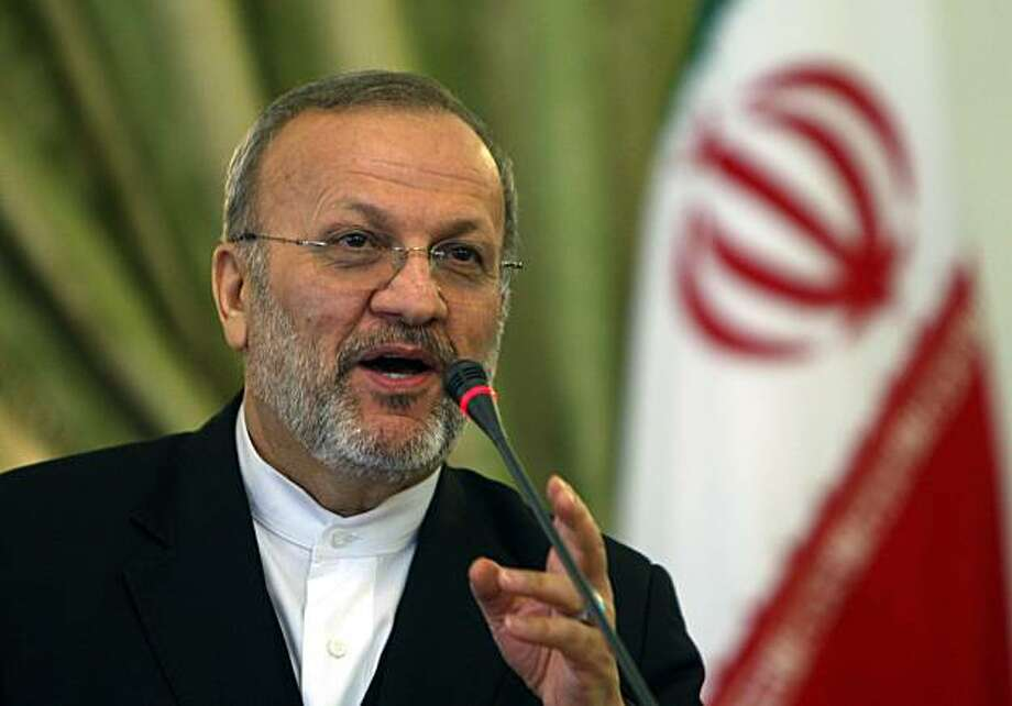 "Iranian Foreign Minister Manouchehr Mottaki speaks during a press conference in Tehran on May 1, 2010. Mottaki warned Washington against taking the United Nations ""hostage"" by rejecting visas to the Iranian delegates headed for a nuclear conference in NewYork. Photo: Atta Kenare, AFP/Getty Images"