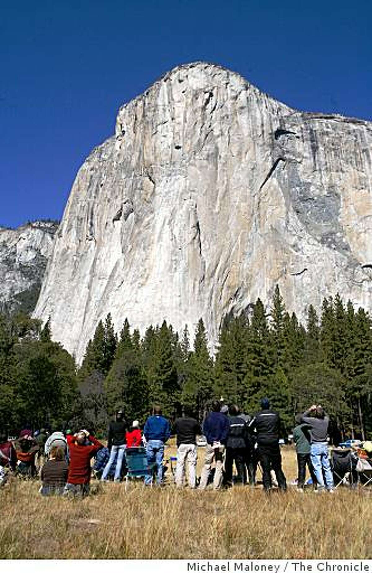 In El Capitan Meadow, over one hundred spectators watched as Hans Florine, 44, of Lafayette, Calif., and Yuji Hirayama, 39, of Hidaka, Japan, broke their own speed record climb up the Nose of the internationally famous granite cliff known as El Capitan in Yosemite National Park on Sunday, October 12, 2008. Their time was 2 hours, 37 minutes and 5 seconds, beating their old record by over 6 minutes.