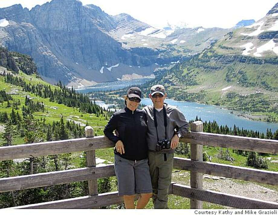 Kathy and Mike Grazioli after the hike to Hidden Lake Overlook atop the Continental Divide in Glacier National Park. Photo: Courtesy Kathy And Mike Grazioli, Special To The Chronicle