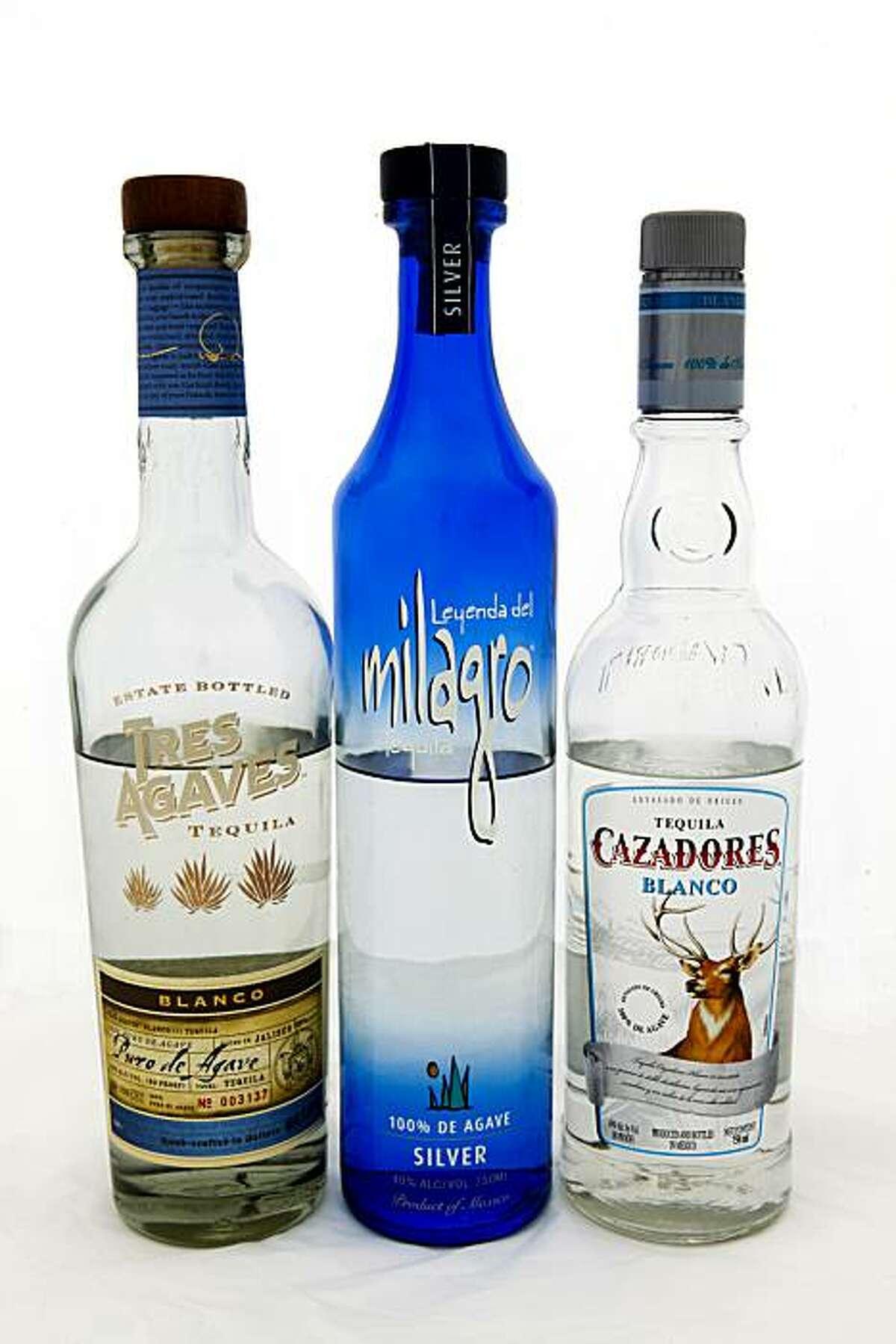 Tres Agaves Blanco, Leyenda del Milagro Silver, and Cazadores Blanco Tequila