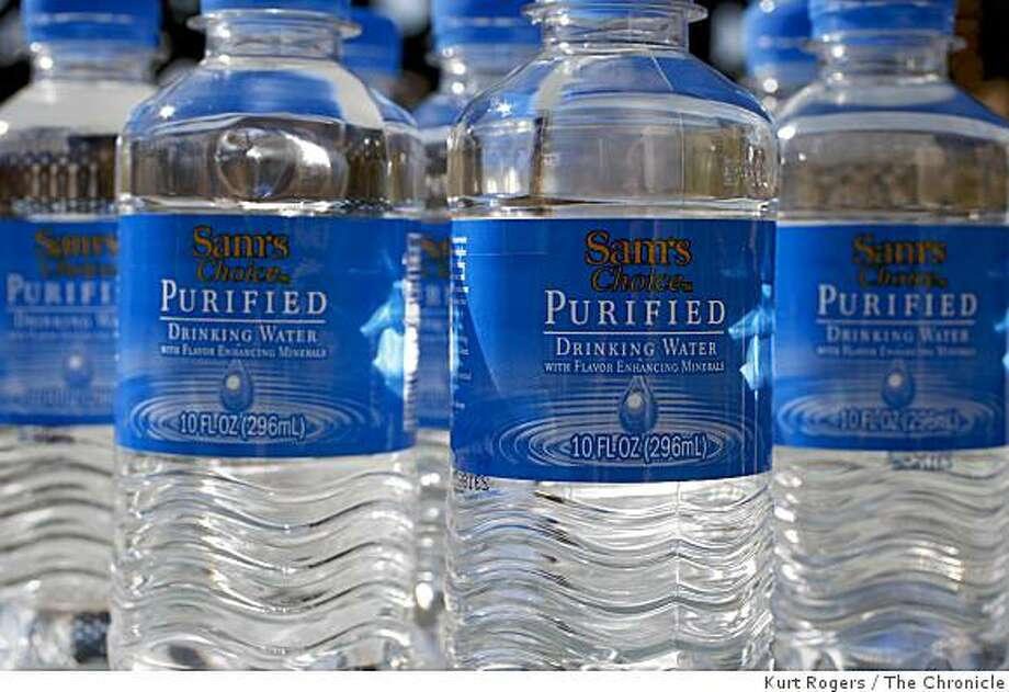 Sam's Choice water. An environmental group filed a lawsuit against Walmart charging that it failed to warn consumers that its product contains byproducts of chlorination at levels high enough to violate state safety standards. Photo: Kurt Rogers, The Chronicle