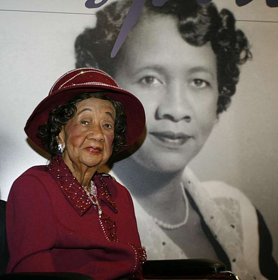 "FILE - In this  March 14, 2008 file photo, Dorothy Irene Height, who served as President of the National Council of Negro Women for 40 years until 1997, sits in front of her featured story board inside the ""Freedom's Sisters"" exhibition at the CincinnatiMuseum Center in Cincinnati. Height, who as longtime president of the National Council of Negro Women was the leading female voice of the 1960s civil rights movement, died Tuesday, April 20, 2010. She was 98. Photo: David Kohl, AP"
