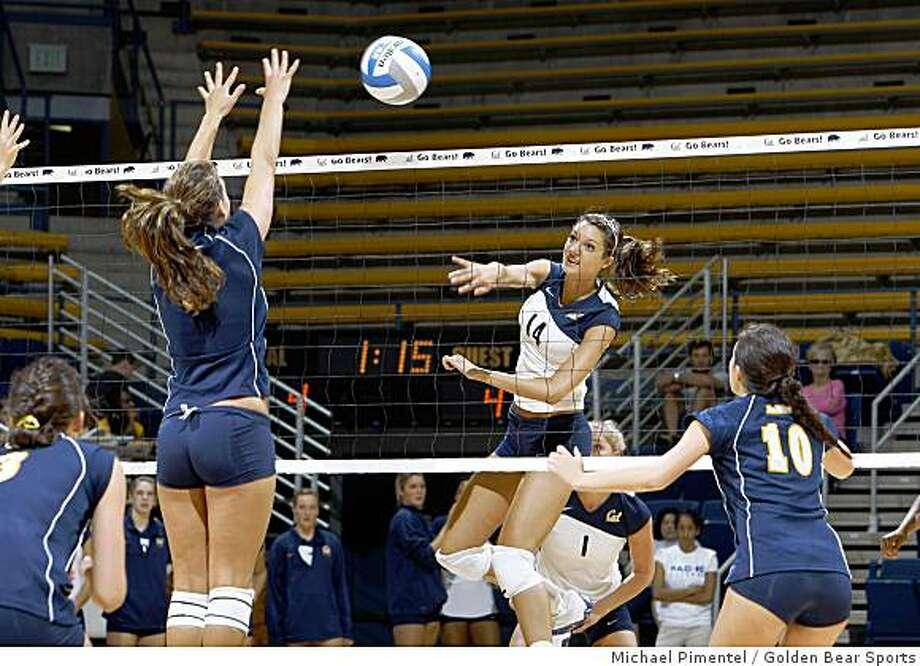 Shannon Hawari (spiking), Cal volleyball, 2008. Photo: Michael Pimentel, Golden Bear Sports