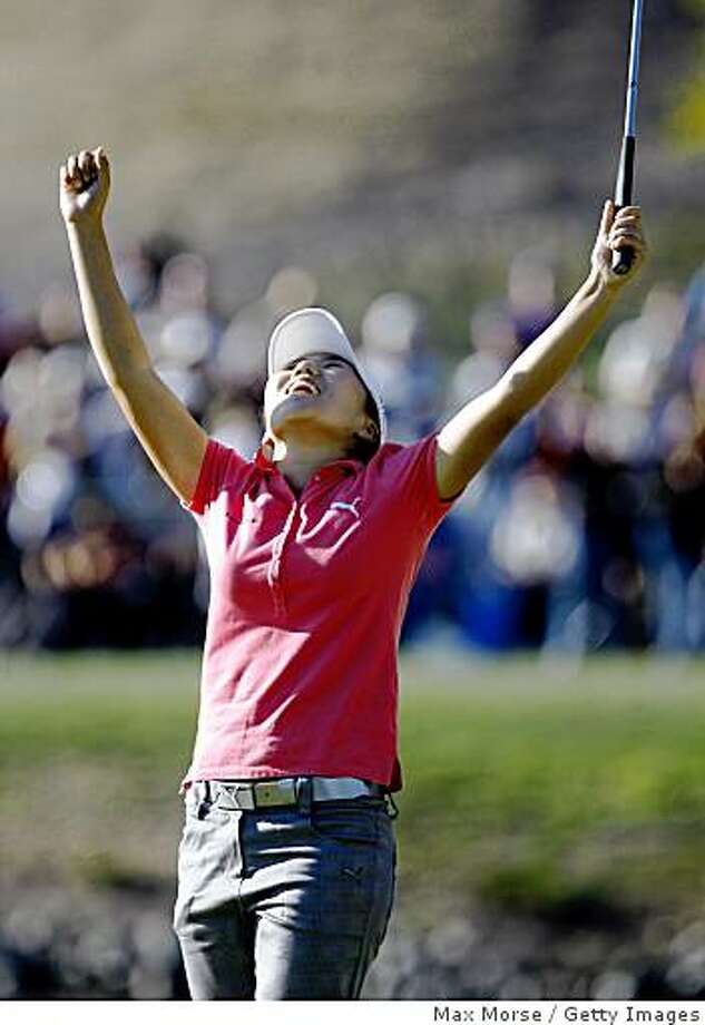 DANVILLE, CA - OCTOBER 12: In-Kyung Kim of South Korea celebrates after winning the LPGA Longs Drugs Challenge at the Blackhawk Country Club October 12, 2008 in Danville, California. (Photo by Max Morse/Getty Images) Photo: Max Morse, Getty Images