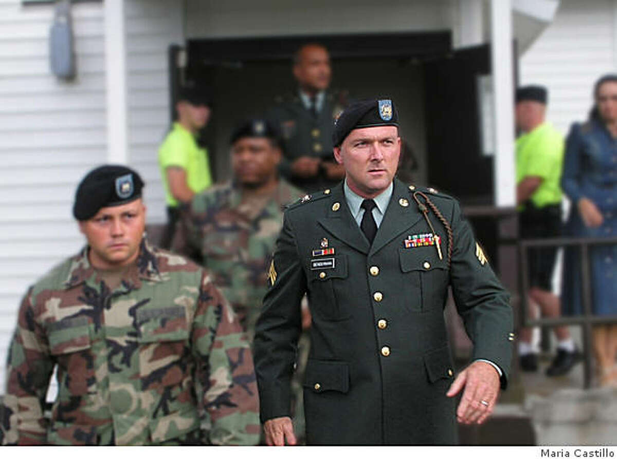 Sgt. Kevin Benderman exits a courthouse in Ft.Stewart, GA after his court martial. Benderman, a 10-year veteran who served in Iraq, and was denied conscientious objector status, appears in the film