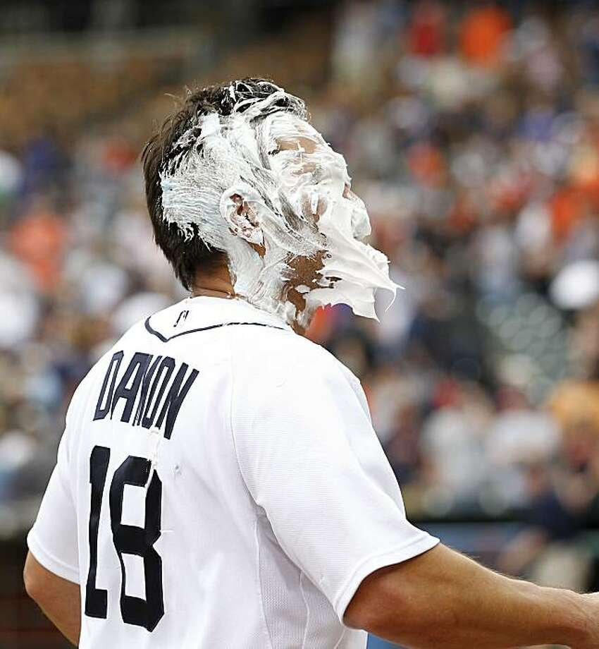 DETROIT - MAY 01:  Johnny Damon #18 of the Detroit Tigers is hit with shaving cream after thitting a ninth inning walk off home run to give the Tigers a 3-2 win over the  Los Angeles Angels of Anaheim during the game on May 1, 2010 at Comerica Park in Detroit, Michigan. Photo: Leon Halip, Getty Images