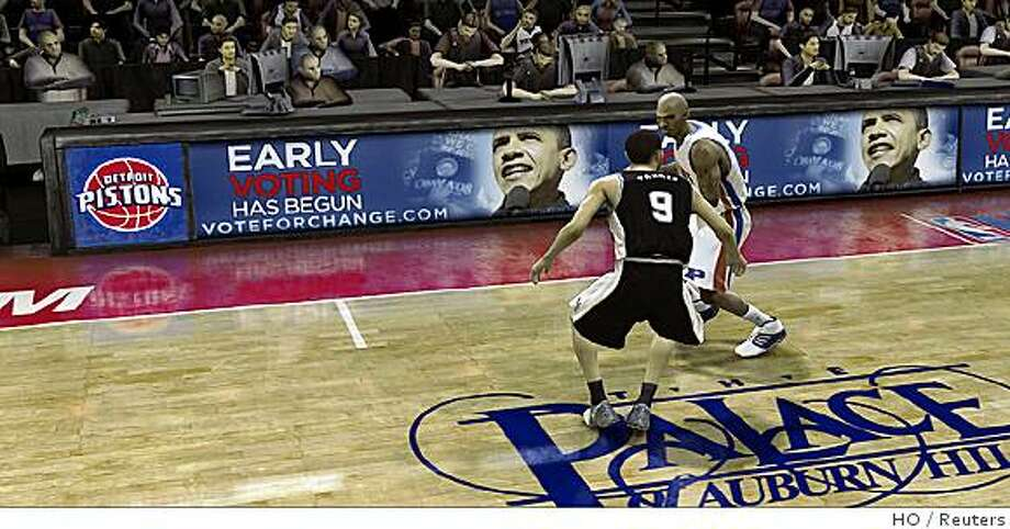 """An advertisement for Democratic presidential nominee Senator Barack Obama (D-IL) is shown in a screen grab image from the EA Sports online video game """"NBA Live 08"""" for Xbox Live 360 in this publicity photo released to Reuters October 15, 2008. The Democratic senator from Illinois is using the ads, placed in 18 video game titles, as part of a larger promotion of his campaign's online voter registration and early balloting drive in 10 battleground states, a campaign spokesman said.   REUTERS/Courtesy of the Obama Campaign/Handout    US PRESIDENTIAL ELECTION CAMPAIGN 2008 (USA).  FOR EDITORIAL USE ONLY. NOT FOR SALE FOR MARKETING OR ADVERTISING CAMPAIGNS. Photo: HO, Reuters"""