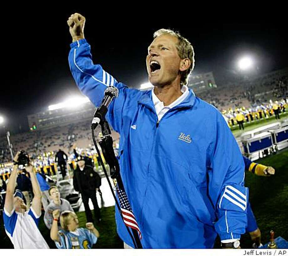 UCLA head coach Rick Neuheisel celebrates after UCLA defeats Washington St. 28-3 in an NCAA college football game, Saturday, Oct. 4, 2008, in Pasadena, Calif. (AP Photo/Jeff Lewis) Photo: Jeff Lewis, AP