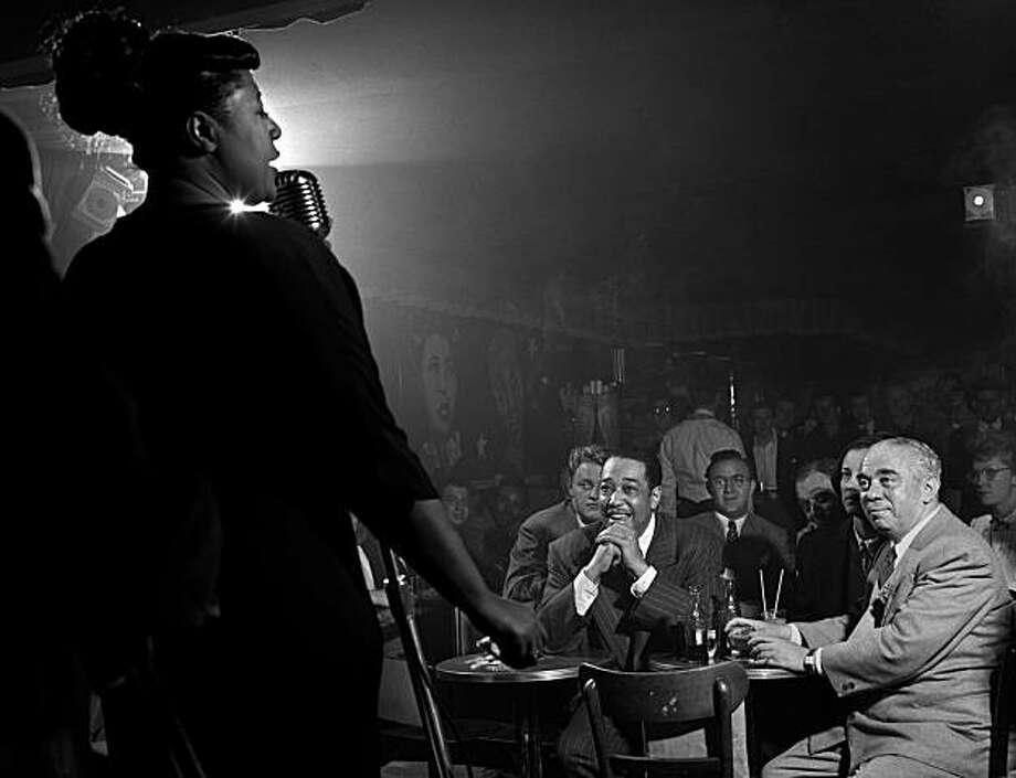 """Ella Fitzgerald and Duke Ellington, NYC, 1949, is part of ?JAZZ GIANTS: The Photography of Herman Leonard? at The Jazz Heritage Center?s Koret Heritage Lobby,  1330 Fillmore Street, through May 16. Photo: Herman Leonard Photography, LLC"