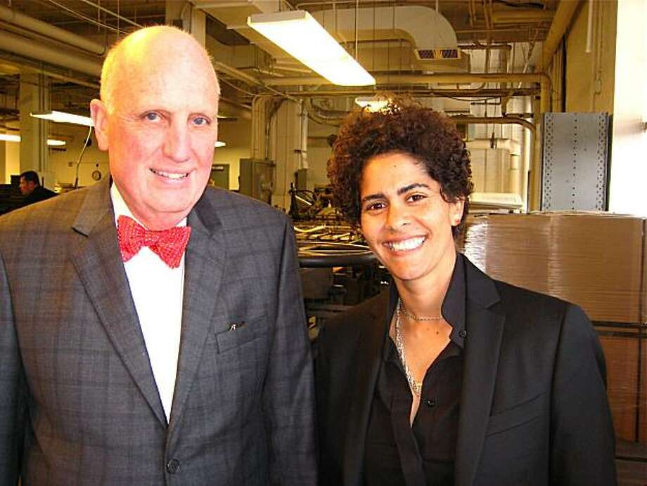 Arion Press founder-publisher Andrew Hoyem and artist Julie Mehretu at Arion Press. April 2010. Photo: Catherine Bigelow, Special To The Chronicle