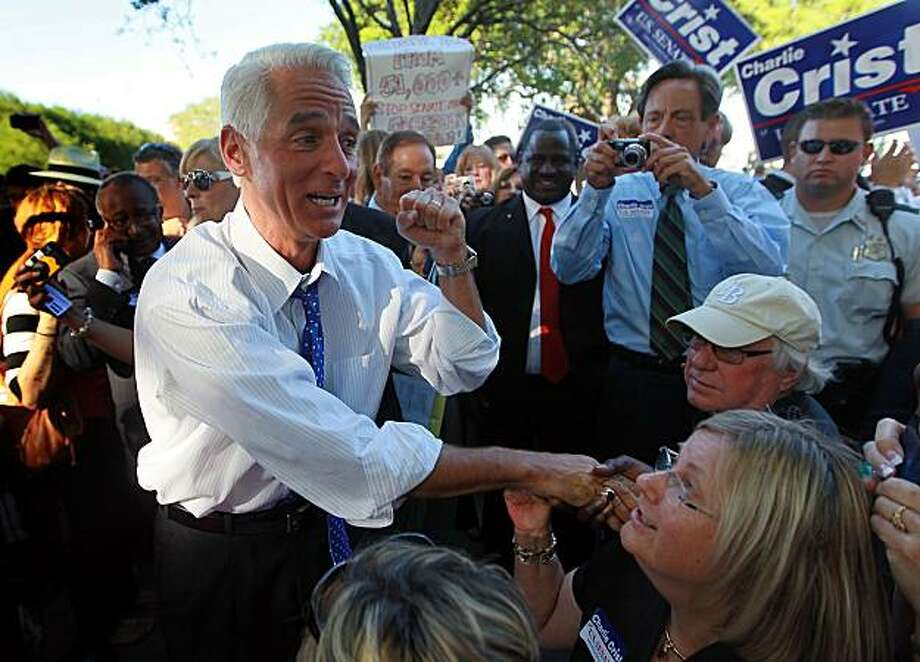 ST. PETERSBURG, FL - APRIL 29:  Florida Gov. Charlie Crist greets supporters at his announcement that he will make an independent bid for the open U.S. Senate seat on April 29, 2010 in St. Petersburg, Florida. Crist announced he will buck the Republican Party and run as an independent in his bid against U.S.  Rep. Kendrick Meek (D-FL) and GOP candidate, Florida House Speaker Marco Rubio, a Tea Party favorite. Crist had been trailing Rubio badly in the GOP primary polls. Photo: Joe Raedle, Getty Images