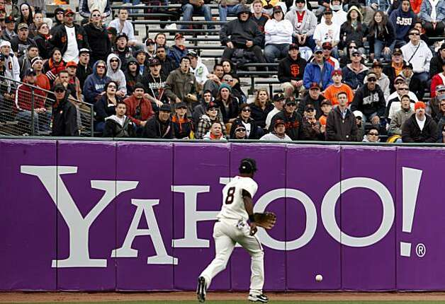 Eugenio Velez (8) chases down a ball in left field as fans moan after he misjudged a fly ball in the 11th inning.  The run that scored turned out to be the winning run for the Phillies. San Francisco Giants lose to the Philadelphia Phillies 7-6 Wednesday April 28, 2010 in eleven innings at AT&T park. Photo: Brant Ward, The Chronicle