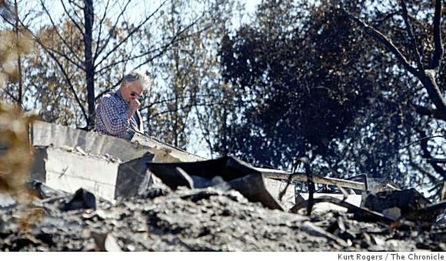 Jimmy McDannald looks over the remains of his home that he has had scenes 1970. The house and his garage were the only structures lost in the fire. on Saturday OCT 11,  2008 in ST.Helena , Calif Photo: Kurt Rogers, The Chronicle