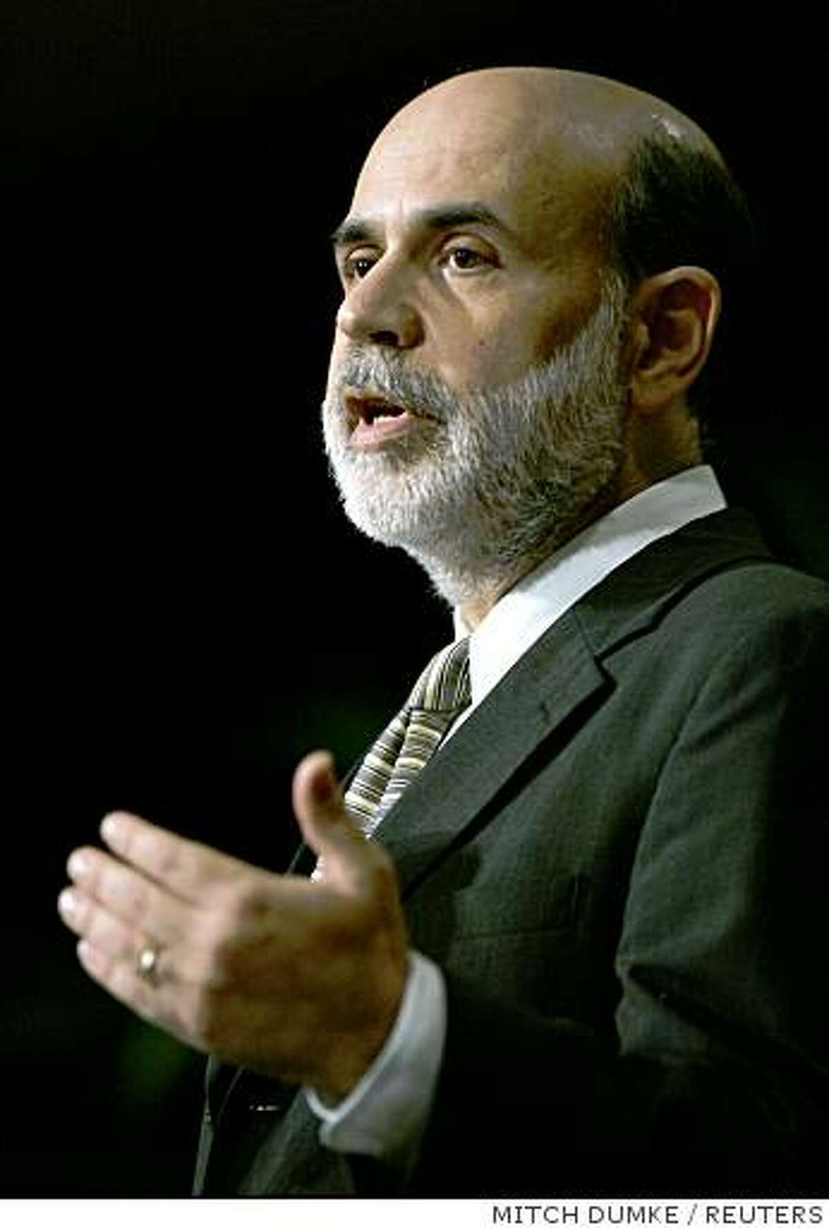 U.S. Federal Reserve Chairman Ben Bernanke speaks to the National Association for Business Economics (NABE) about the current state of the economy in Washington, on Tuesday, Oct. 7, 2008.