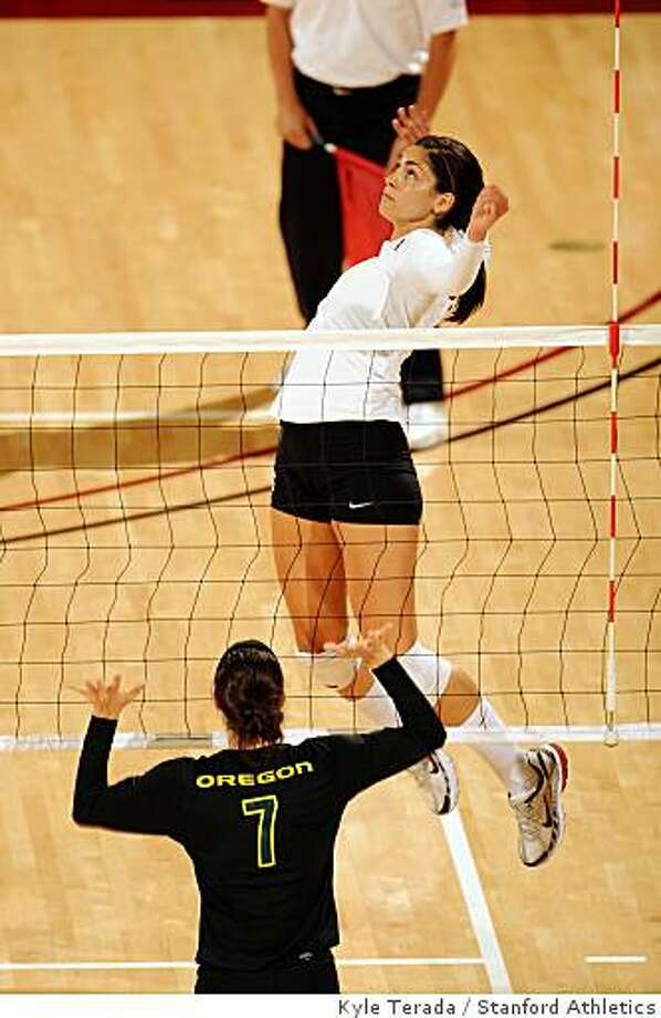 Stanford, CA - SEPTEMBER 27: Outside hitter Cynthia Barboza #1 of the Stanford Cardinal during Stanford's 25-21, 25-22, 25-20 win against the Pacific Tigers on September 27, 2008 at Maples Pavilion in Stanford, California. Photo: Kyle Terada, Stanford Athletics
