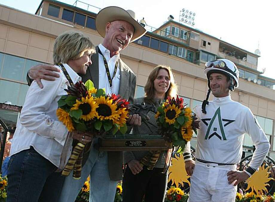 Endorsement's owner, Bill Casner, second from left, and his wife, along with trainer Shannon Ritter talk with jockey Robby Albarado after the Sunland Derby on March 28, 2010, at Sunland Park Racetrack and Casino in Sunland Park, N.M. Photo: Mark Lambie, El Paso Times