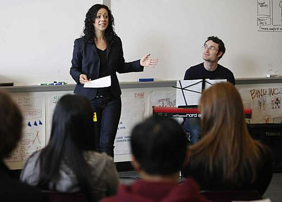 Brazilian singer and Artist in Residence with San Francisco Performances, Luciana Souza, teaches a lesson in music to a group of AP English students at Abraham Lincoln High School on Tuesday March 16, 2010 in San Francisco, Calif. Photo: Mike Kepka, The Chronicle