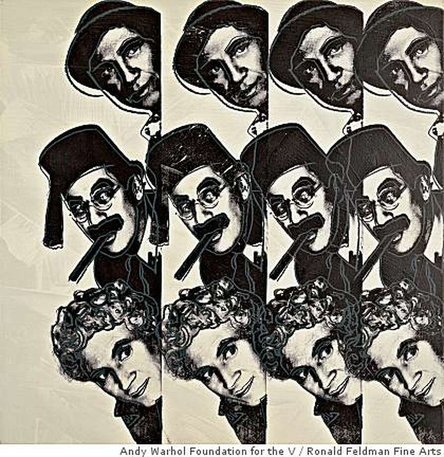 """The Marx Brothers"" (1980) synthetic polymer paint and silk-screen ink on canvas by Andy Warhol. 40 x 40 in. Photo: Andy Warhol Foundation For The V, Ronald Feldman Fine Arts"