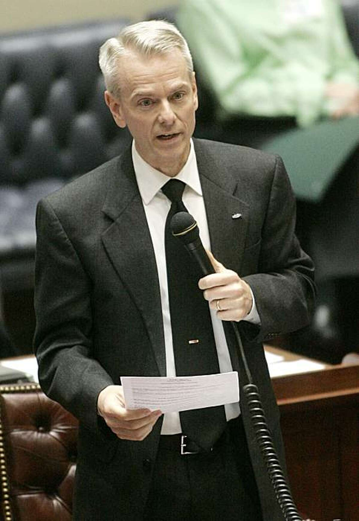Oklahoma state Sen. Steve Russell, R-Oklahoma City, gestures as he speaks during a debate on an override of an abortion bill on the Oklahoma House floor in Oklahoma City, Tuesday, April 27, 2010. The Oklahoma Senate voted to override Gov. Brad Henry's veto of two abortion bills, clearing the way for the bills to become law without his signature.
