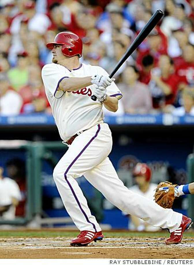 Philadelphia Phillies Brett Myers hits a RBI single against the Los Angeles Dodgers during the second inning in Game two of Major League Baseball's NLCS playoff series in Philadelphia, October 10, 2008.     REUTERS/Ray Stubblebine (UNITED STATES) Photo: RAY STUBBLEBINE, REUTERS
