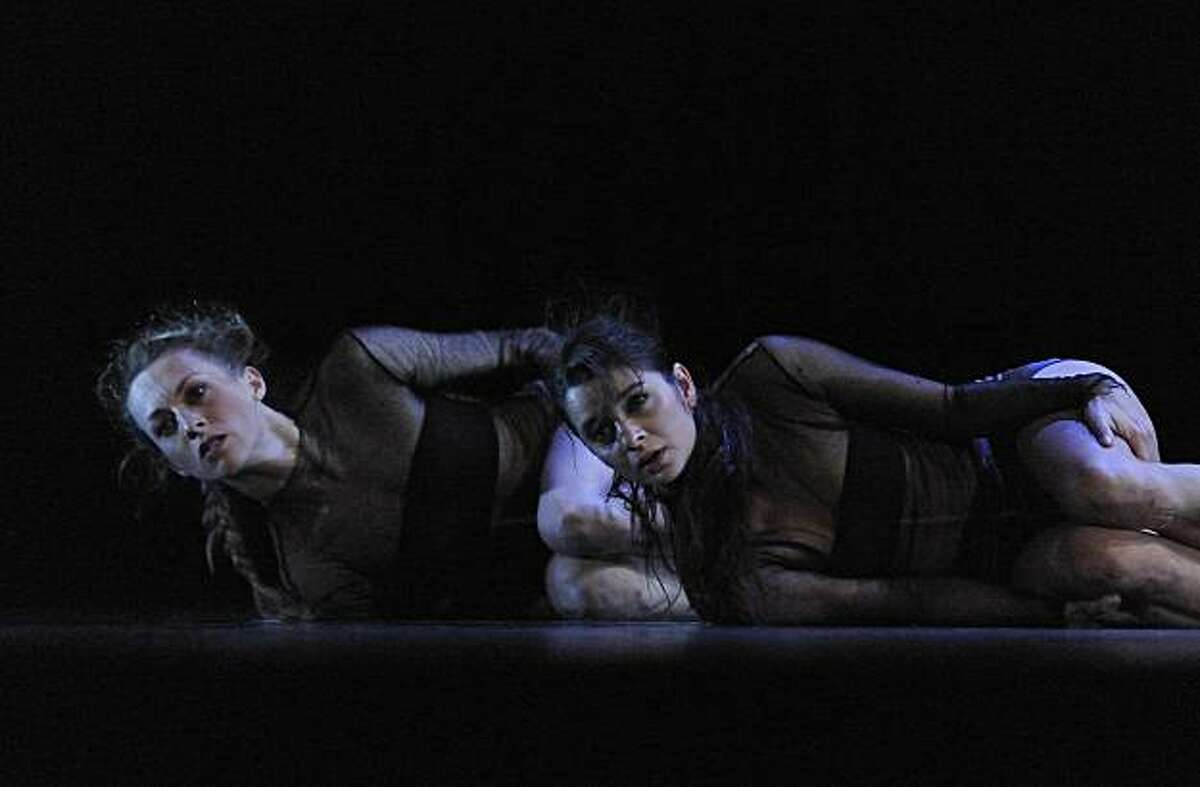 Luisa Mar?a Arias and Ana Tereza Gonzaga in ?Cobalto? one of three works on the program for Compa??a Nacional de Danza, presented by San Francisco Performances April 29-May 1 at Novellus Theater at Yerba Buena Center for the Arts/ CREDIT: Fernando Marcos