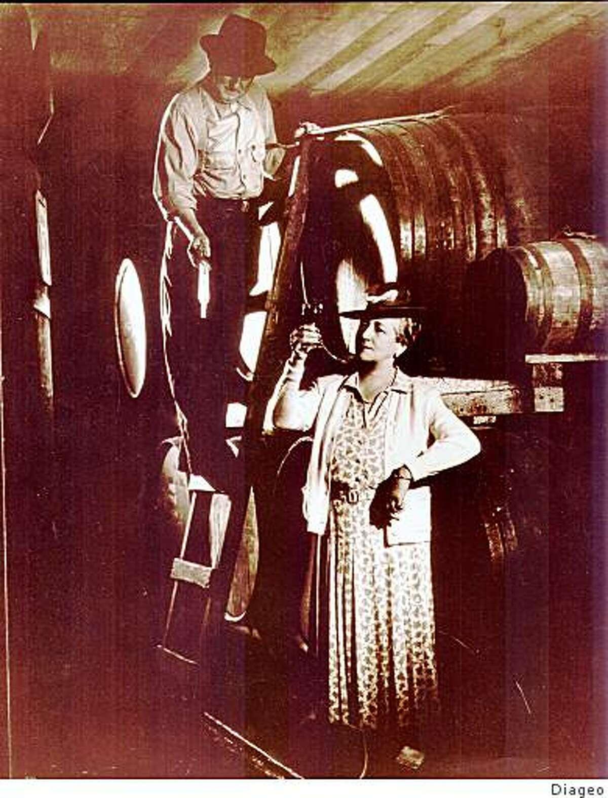 Fernande de Latour (bottom) and Joseph Ponti, Beaulieu Vineyard's first vineyard manager, in the early 1940s.