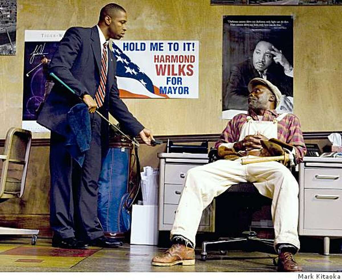 """Aldo Billingslea (left) as mayoral candidate Harmond Wilks and L. Peter Callender as Sterling Johnson in """"Radio Golf"""" at TheatreWorks."""
