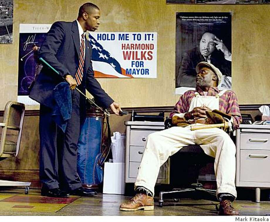 """Aldo Billingslea (left) as mayoral candidate Harmond Wilks and L. Peter Callender as Sterling Johnson in """"Radio Golf"""" at TheatreWorks. Photo: Mark Kitaoka"""