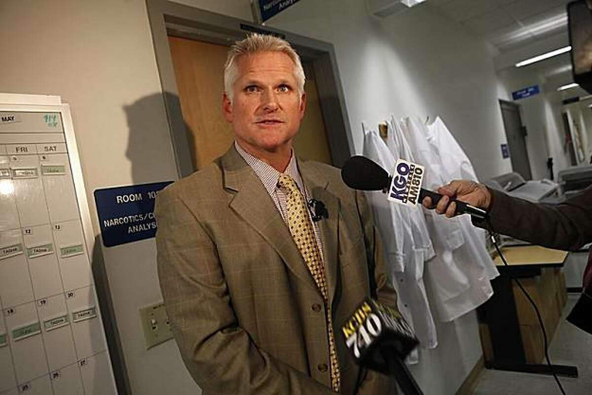 Jim Mudge, crime lab director, speaks to the media outside the narcotics/chemical analysis unit during a media tour of the Crime Lab in San Francisco, Calif. on Wednesday, March 10, 2010.