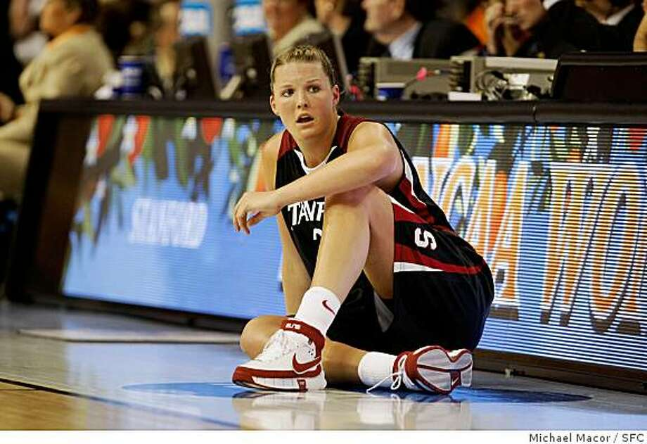 Stanford's Jayne Appel waits to go back into the game during the second half. Stanford Cardinals battle the Lady Volunteers of Tennessee in the Women's NCAA  Championship game, on April 8, 2008 in Tampa, Floirda.Photo by  Michael Macor/ San Francisco Chronicle Photo: Michael Macor, SFC