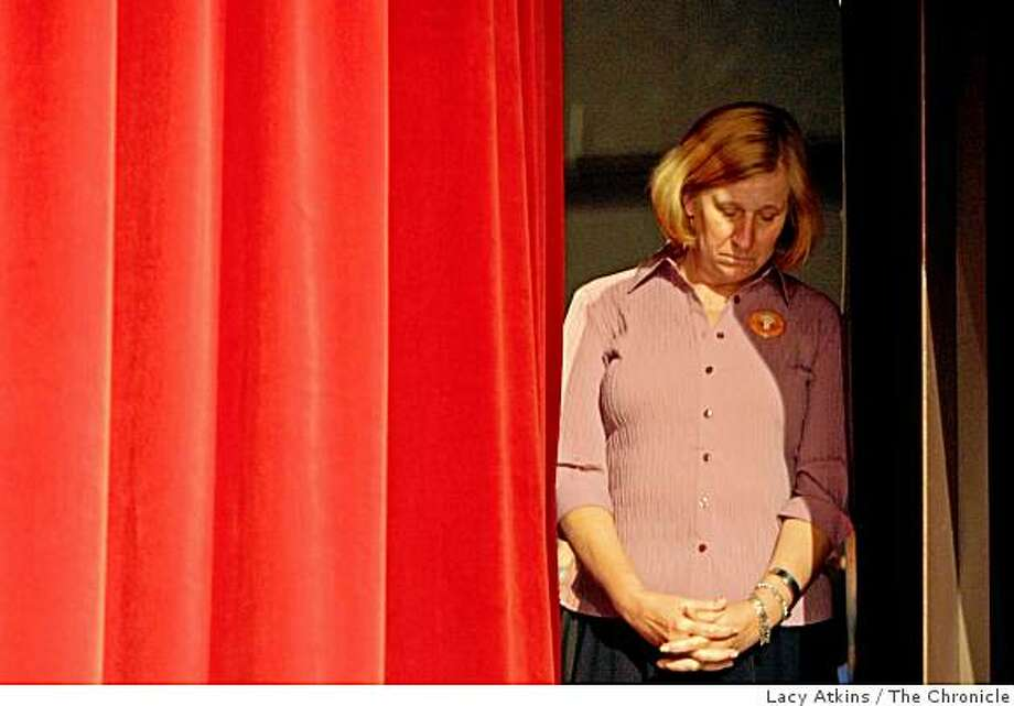 Activist Cindy Sheehan stands in the wings of the stage waiting to be introduced to the crowd of students at San Francisco State College, Tuesday Sept. 30,  2008, in San Francisco,  Calif. Sheehan is running for Congress in hopes of beating Nancy Pelosi. Photo: Lacy Atkins, The Chronicle