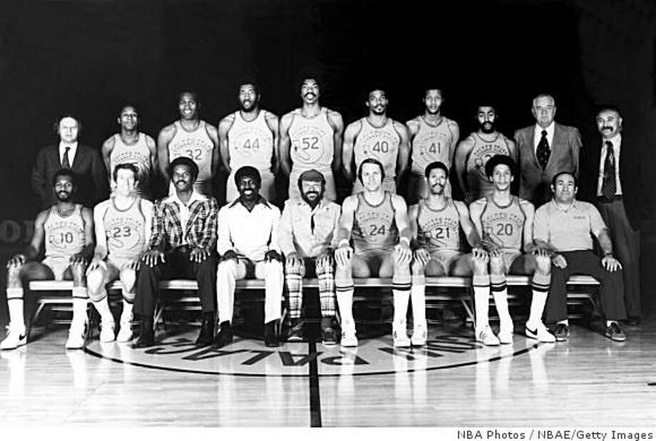 OAKLAND, CA - 1975: The World Champions of basketball Golden State Warriors  pose for a team portrait front row (L-R): Charles Johnson, Jeff Mullins, Joe Roberts, Assistant Coach; Al Attles,  Head Coach;  Franklin Mieuli, Owner;  Rick Barry, captain; Butch Beard, Phil Smith, Dick D'Oliva, Trainer. Back Row: Hal childs, Assistant General Manager; Charles Dudley, Bill Bridges, Clifford Ray, George Johnson, Derrek Dickey, Keith Wilkes, Steve Bracey, Bob Feerick, Director of Player Personnel; Dick Vertlieb, General Manager. in Oakland, California in 1975.  NOTE TO USER: User expressly acknowledges  and agrees that, by downloading and or using this  photograph, User is consenting to the terms and conditions of the Getty Images License Agreement. Mandatory copyright notice: Copyright NBAE 2002 (Photo by NBAP/ NBAE/ Getty Images) Photo: NBA Photos, NBAE/Getty Images