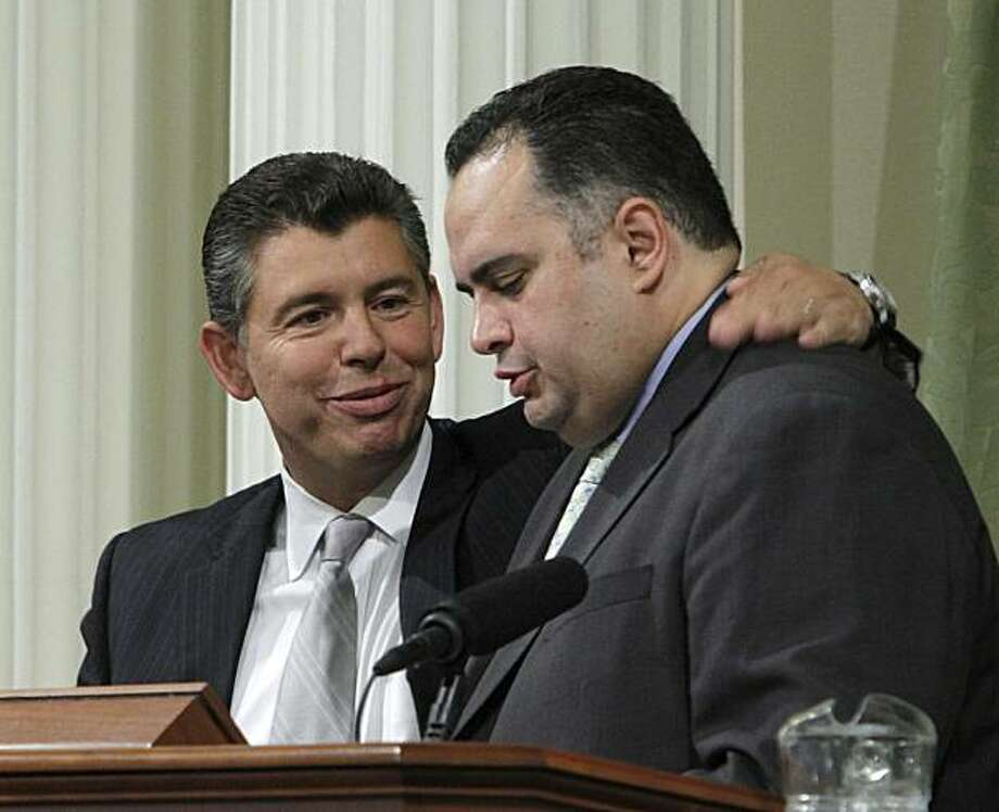 State Sen. Abel Maldonado, R-Santa Maria, left, talks with Assembly Speaker John Perez, D-Los Angeles, after his nomination for Lt. Gov. was approved by the Assembly at the Capitol in Sacramento, Calif., Thursday, April 20, 2010.   Perez gave his support for Maldonado after previously voting against his confirmation earlier in the year. Photo: Rich Pedroncelli, AP