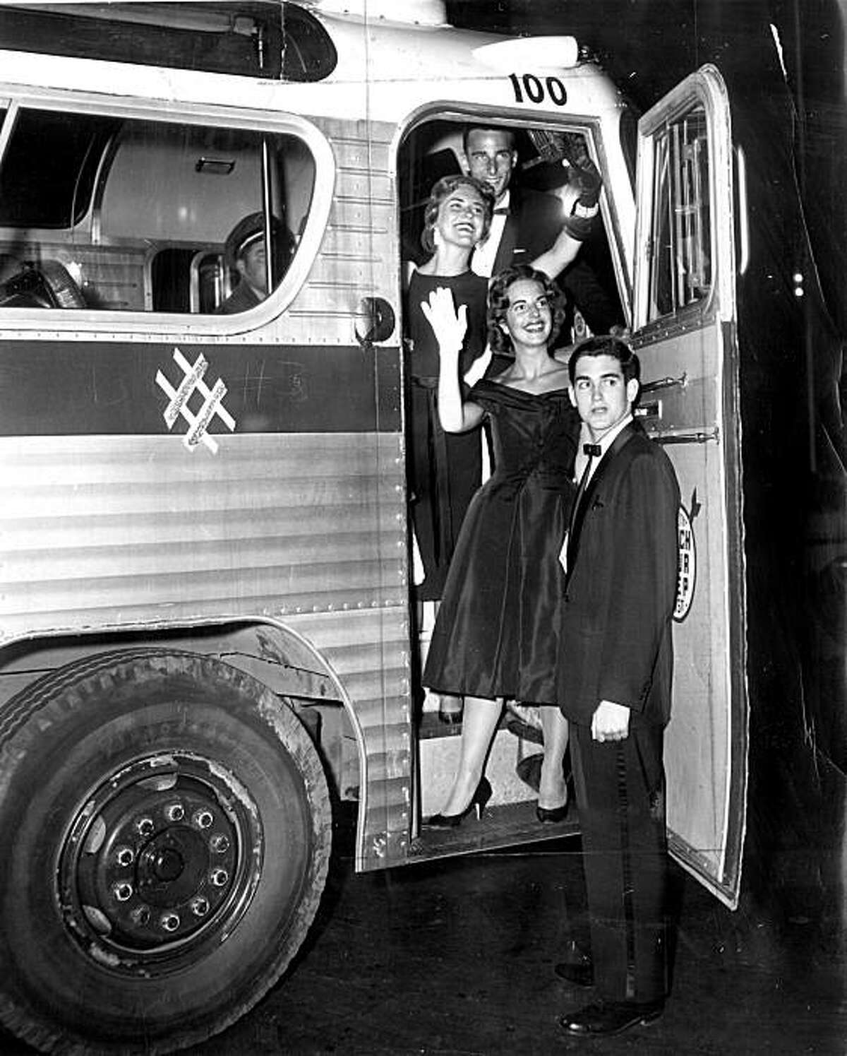 From top: Dennis Bond, Linda Schmidt, Cathy Cartan and Mike Novelli, boarding a bus at the Black and White Ball, 1959.