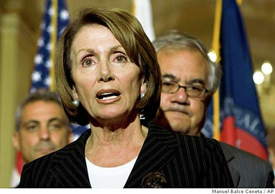 House Speaker Nancy Pelosi, with Democratic Reps. Barney Frank of Massachusetts, right, and Rahm Emanuel of Illinois, left, speaks on Capitol Hill in Washington, Monday, Sept. 22, 2008. (AP Photo/Manuel Balce Ceneta) Photo: Manuel Balce Ceneta, AP